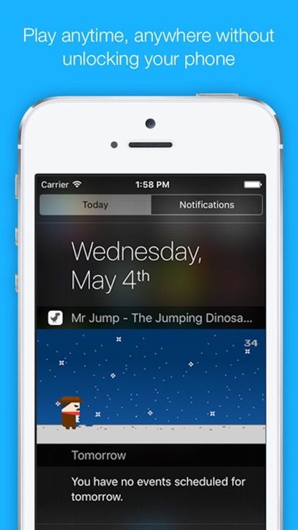 Mr Jump - The Jumping Dinosaur, T-Rex in Widget Game, Notification Center