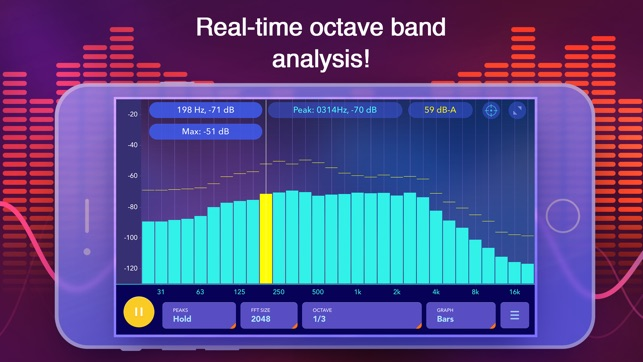 ‎Octave Band Real Time Frequency Analyzer and Sound Level Meter