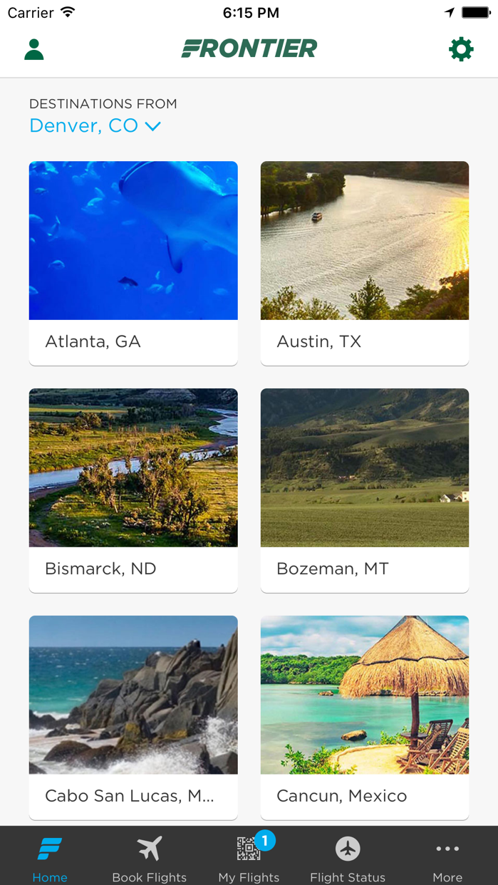Frontier Airlines Screenshot