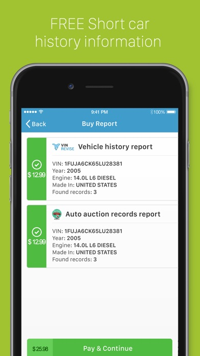 VIN Revise: instant access to car history check. app image