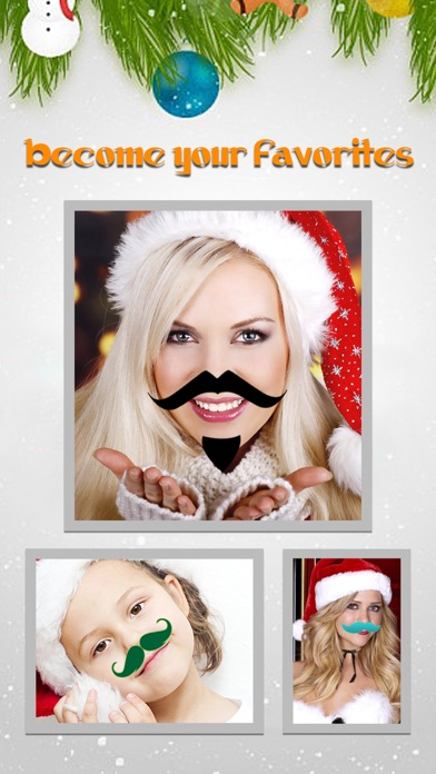 Christmas Moustache Booth - Sticker Photo Editor to Grow Santa Claus Beard over Yr Face screenshot three
