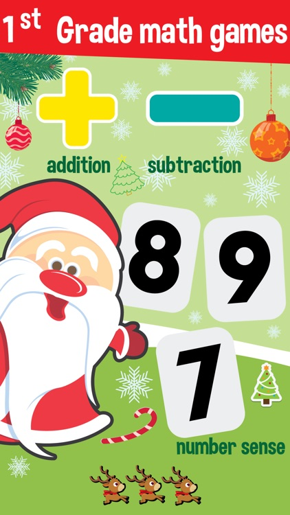 1st grade math games - for learning with santa claus