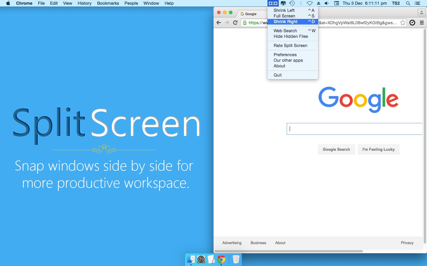 Screenshot do app Split Screen
