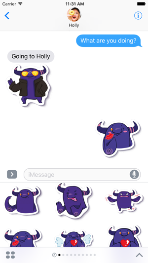 Crazy Purple Monster - Stickers for iMessage Screenshot