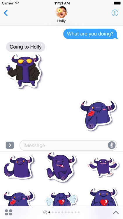 Crazy Purple Monster - Stickers for iMessage