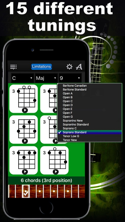 Ukulele Chords Compass Lite - learn the chord charts & play them