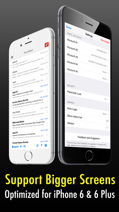 Safe Mail for Gmail Free : secure and easy email mobile app with Touch ID to access multiple Gmail and Google Apps inbox accounts screenshot three