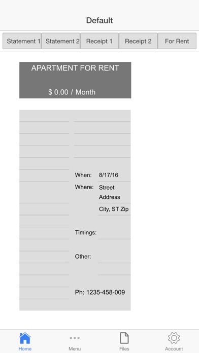 Rental Invoice Screenshots