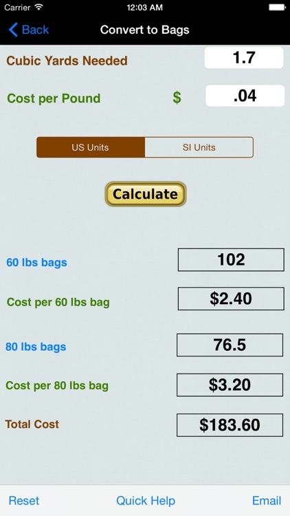 Concrete Bags, Footings, Rectangle, & Sono Tube Calculator with Volume from Rainfall Calc