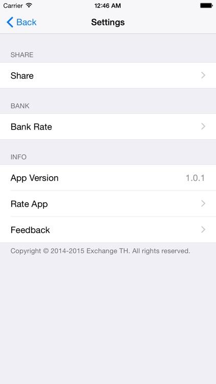 Exchange TH (อัตราแลกเปลี่ยนเงินบาท) screenshot-3