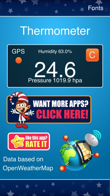 Thermometer Free - Temperature, pressure, humidity measure. Barometer