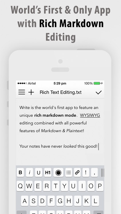 Write for iPhone - A Note Taking and Markdown Writing App