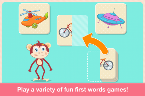 Baby First Words. Matching Educational Puzzle Games for Toddlers and Preschool Kids by Abby Monkey® Learning Clubhouse screenshot 4