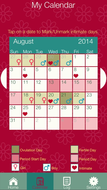 Fertility Diary 2016 - Ovulation & Period Tracker with Pregnancy & Baby Gender Prediction