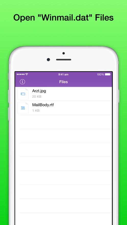 Winmail DAT文件浏览器专业版——在iPhone和iPad上打开采用TNEF编码的Outlook文件winmail.dat App 截图