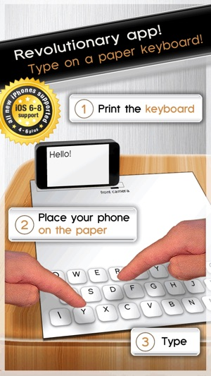 Paper Keyboard - Fast typing and playing with an alternative printed projector keypad Screenshot