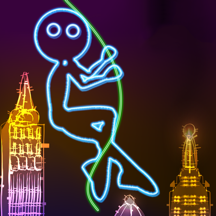 Neon City Swing-ing: Super-fly Glow-ing Rag-Doll with a Rope