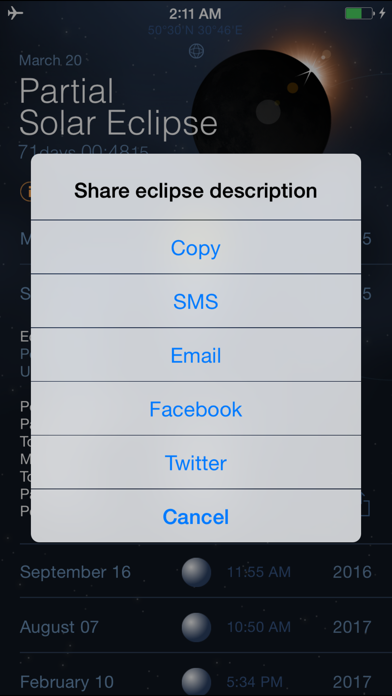 Solar and Lunar Eclipses - Full and Partial Eclipse Calendar Screenshot