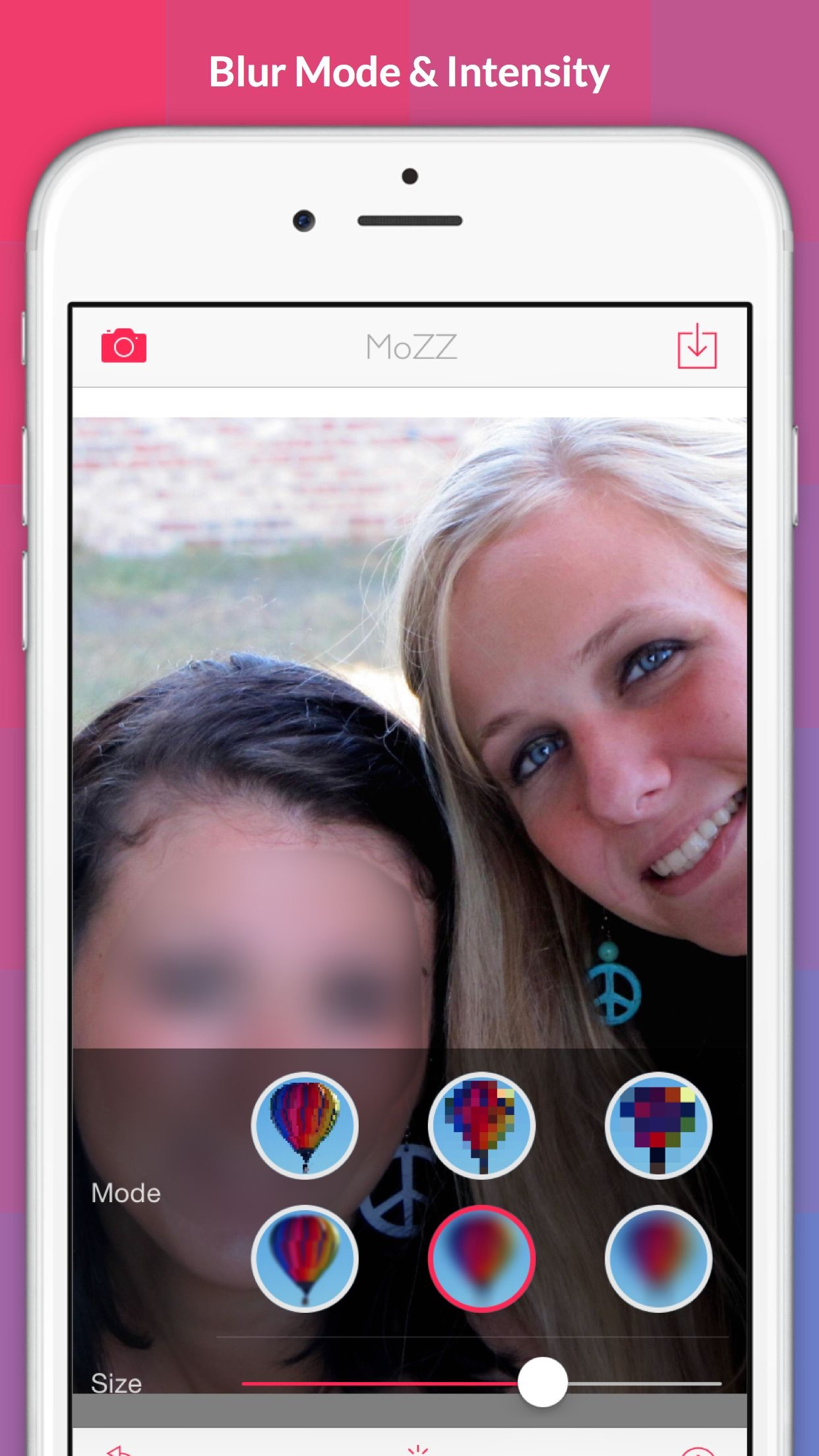 Screenshot do app MoZZ - blur & pixellation photo app -