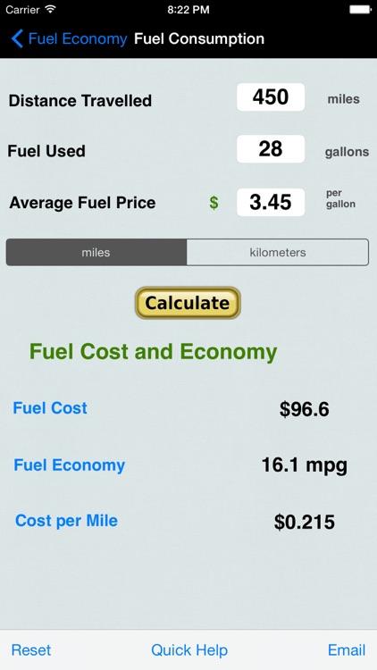 Fuel Calc : MPG, L100k, Car Economy Calculator screenshot-3