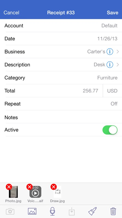 Receipts Pro - Income, Expense, and Mileage Tracker with Reports (upload to Dropbox / Evernote) and Budgets