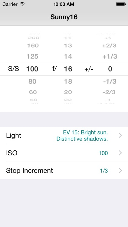 Sunny16 exposure calculator screenshot-0