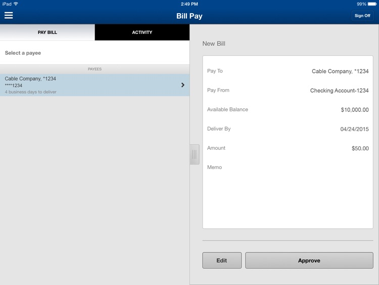 Nevada State Bank Mobile Banking for iPad