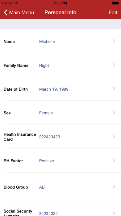 Family Medical History review screenshots