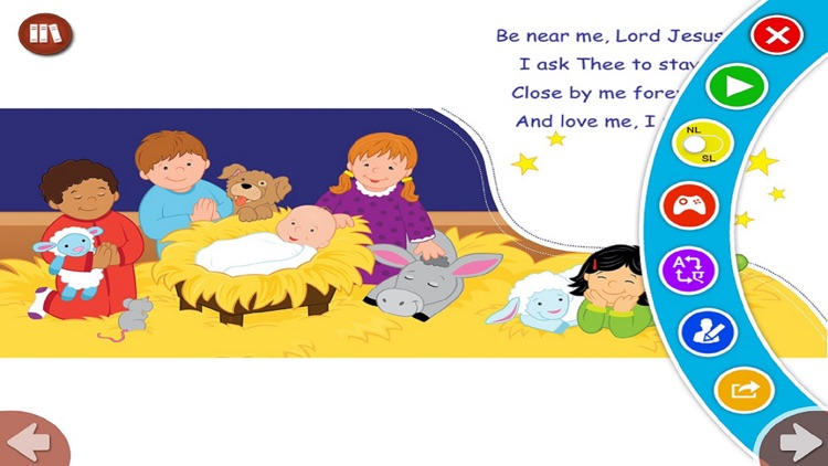 Away In A Manger by Twin Sisters - Read along interactive Christmas eBook in English for children with puzzles and learning games screenshot-3