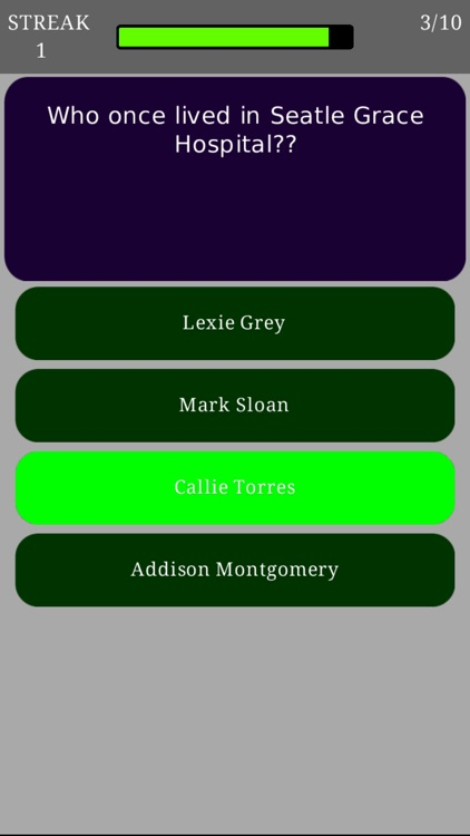 Trivia for Grey's Anatomy - Fan quiz for the American TV medical drama series screenshot-3