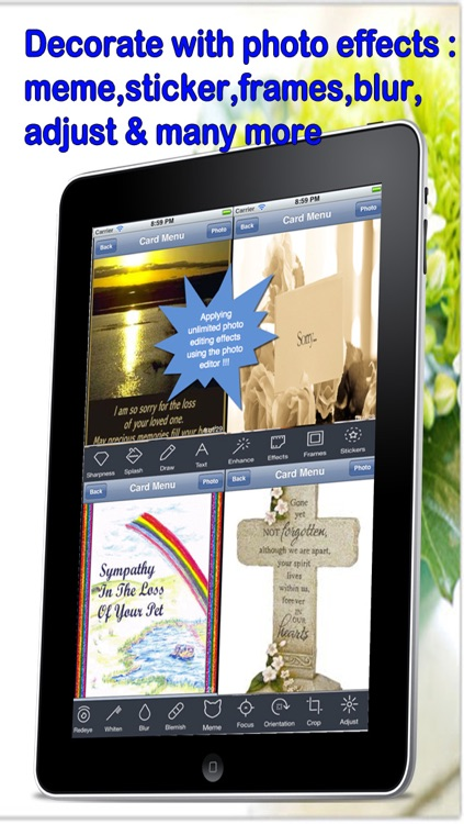 Best Condolence Cards with Photo Editor.Customise and send condolence cards with sympathy text,voice messages and photo effects