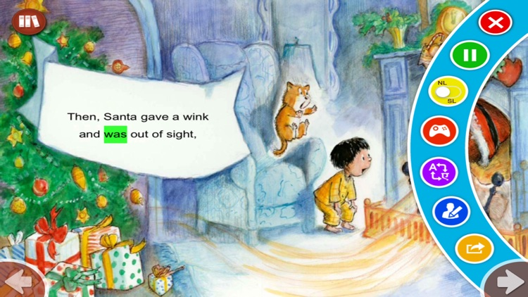 Down Through The Chimney - Read along interactive Christmas eBook in English for children with puzzles and learning games