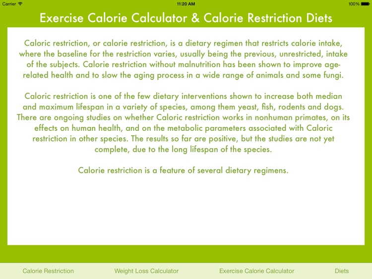 Exercise Calorie Calculator & Calorie Restriction Diets screenshot-4