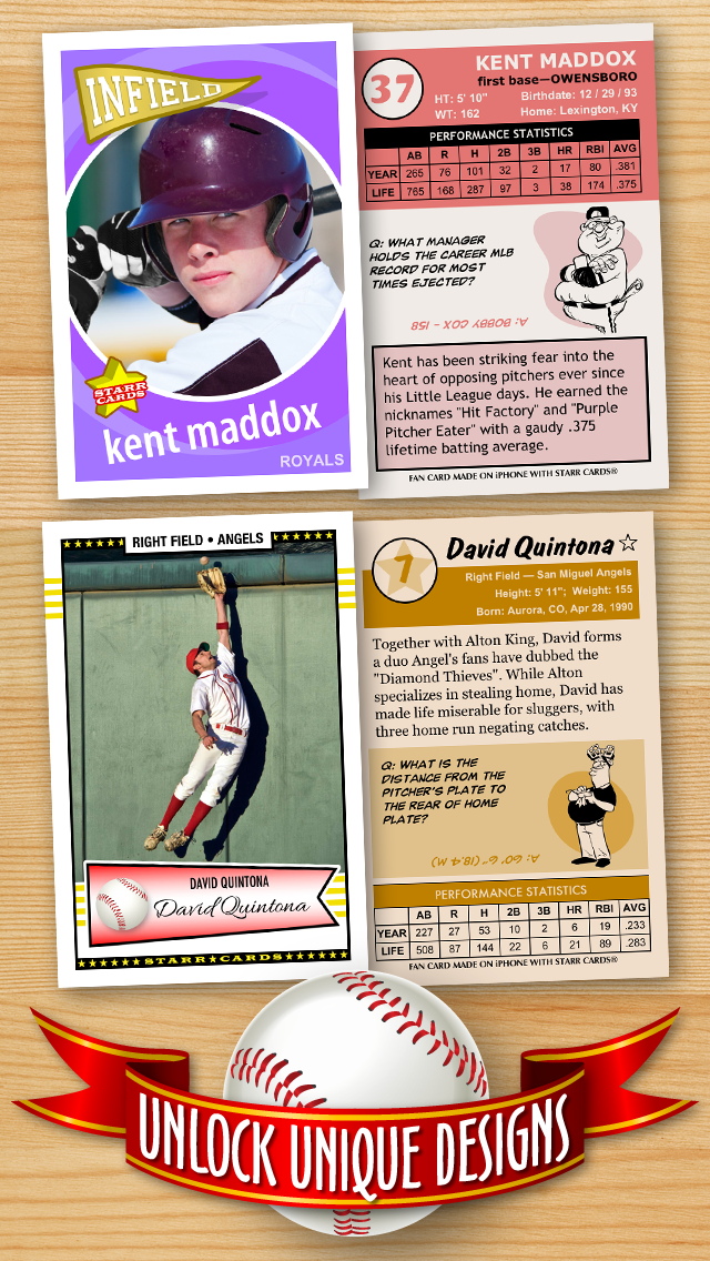 Free Baseball Card Template Create Personalized Sports Cards Complete With Baseball Quotes Cartoons And Stats By Pocketsensei Ios United States Searchman App Data Information