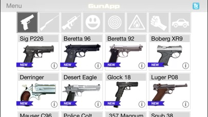 Screenshots of GunApp for iPhone