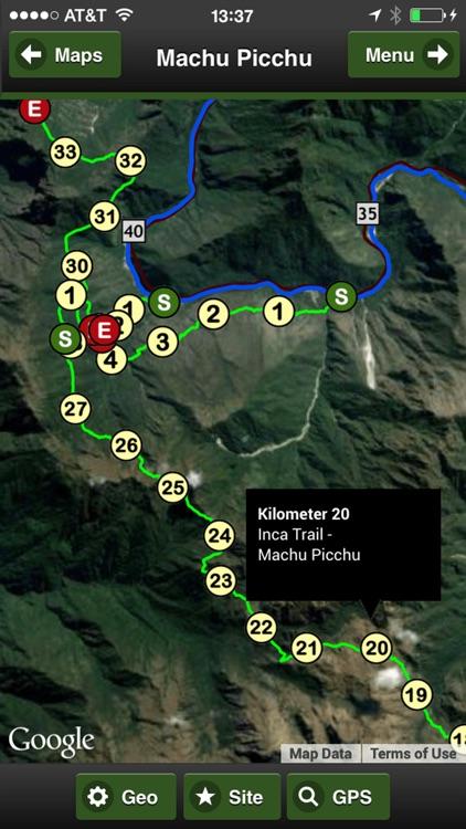 Machu Picchu trail map offline