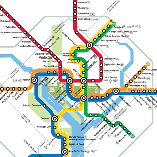 DC Metro Map by taapuna.com on