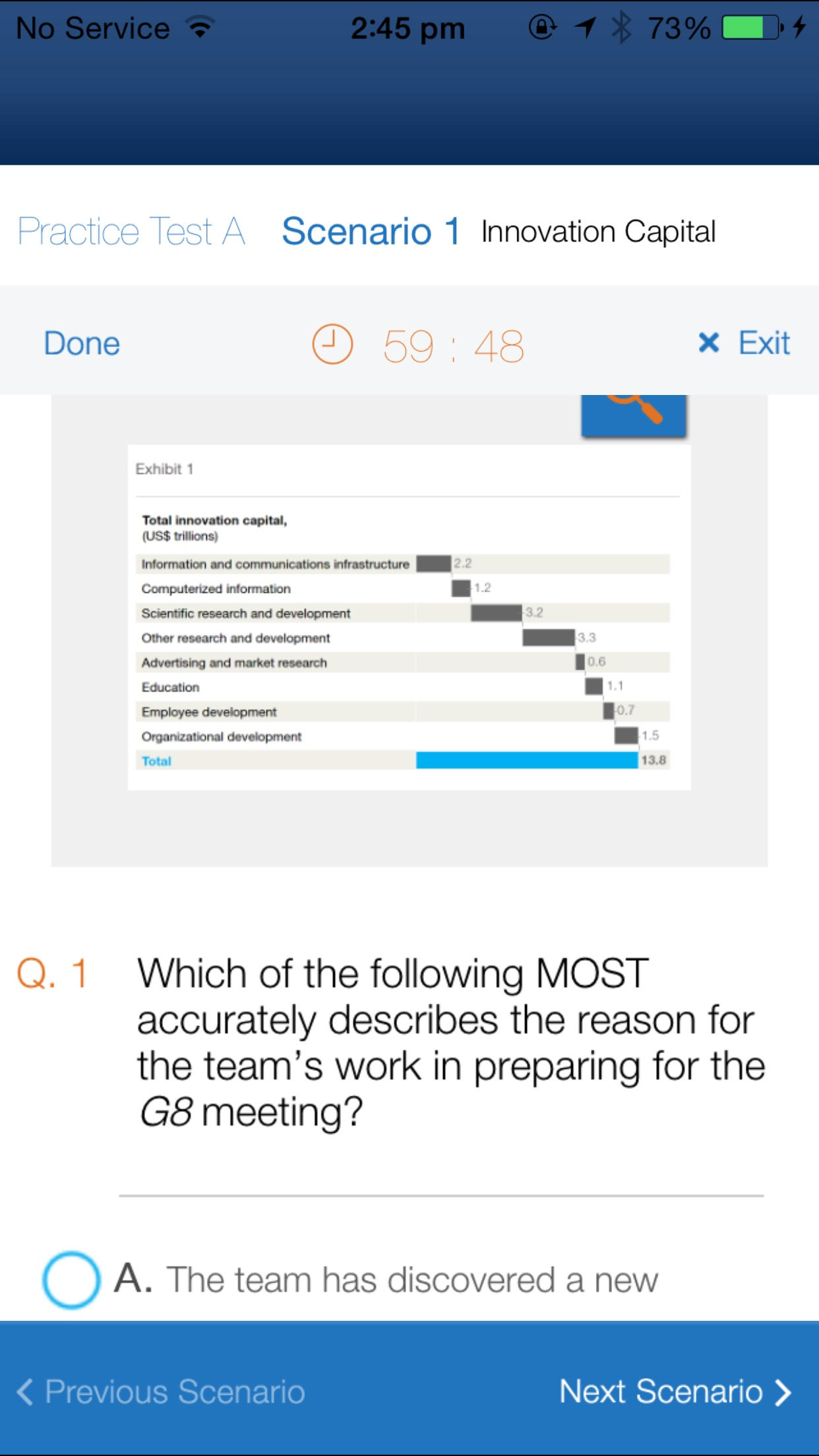 McKinsey Problem Solving Practice Test Screenshot