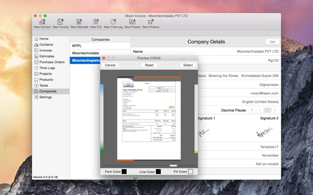Moon Invoice Estimate Purchase Order Timesheet On The Mac App Store - My invoices and estimates for mac