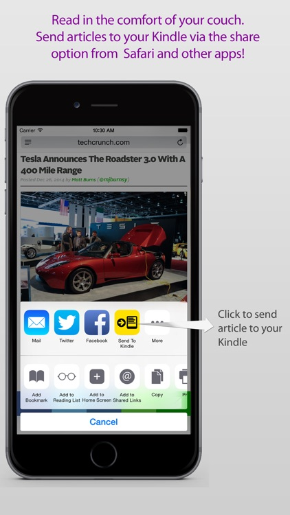 Comfy Read : Send web articles to your Kindle
