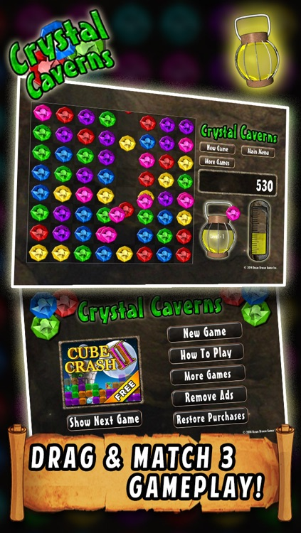 Crystal Caverns - Drag and Match 3 Jewels Game
