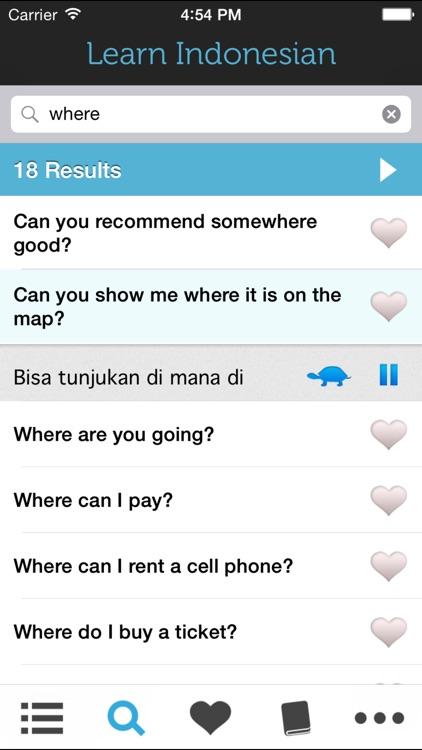 Learn Indonesian HD - Phrasebook for Travel in Indonesia, Bali, Java, Sumatra, Lombok and the Gili Island screenshot-3