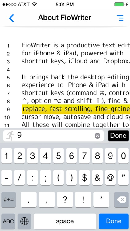 FioWriter - Productive text editor for iPhone & iPad with command keys and cloud sync screenshot-3