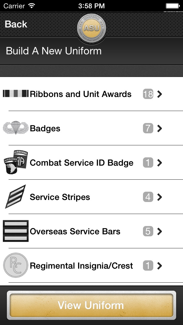 Screenshot for iUniform ASU - Builds Your Army Service Uniform in Denmark App Store