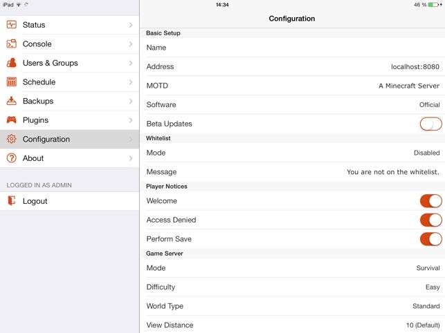 McMyAdmin Mobile Für Minecraft Server Admins Im App Store - Minecraft nitrado server gruppen erstellen