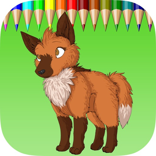 The Wolf Coloring Book: Learn to color and draw a wolf, hyena and more, Free games for children iOS App