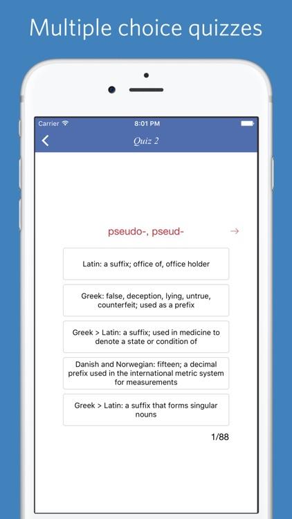 English Prefixes and Suffixes - quiz, flashcard screenshot-4