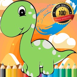 Cute Dino Paint and Coloring Book Learning Skill - Fun Games Free For Kids