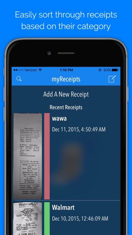 myReceipts - Personal Receipt Organizer app image