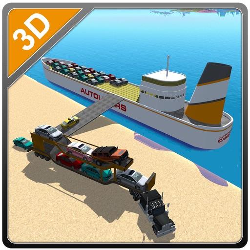 De carga transporte de automoviles nave - conducir camiones y navegar en barco grande en este juego de simulación